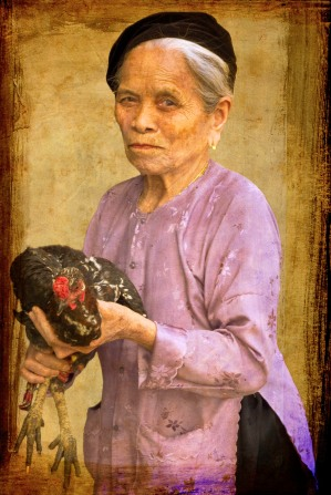 Old lady with Cockerel